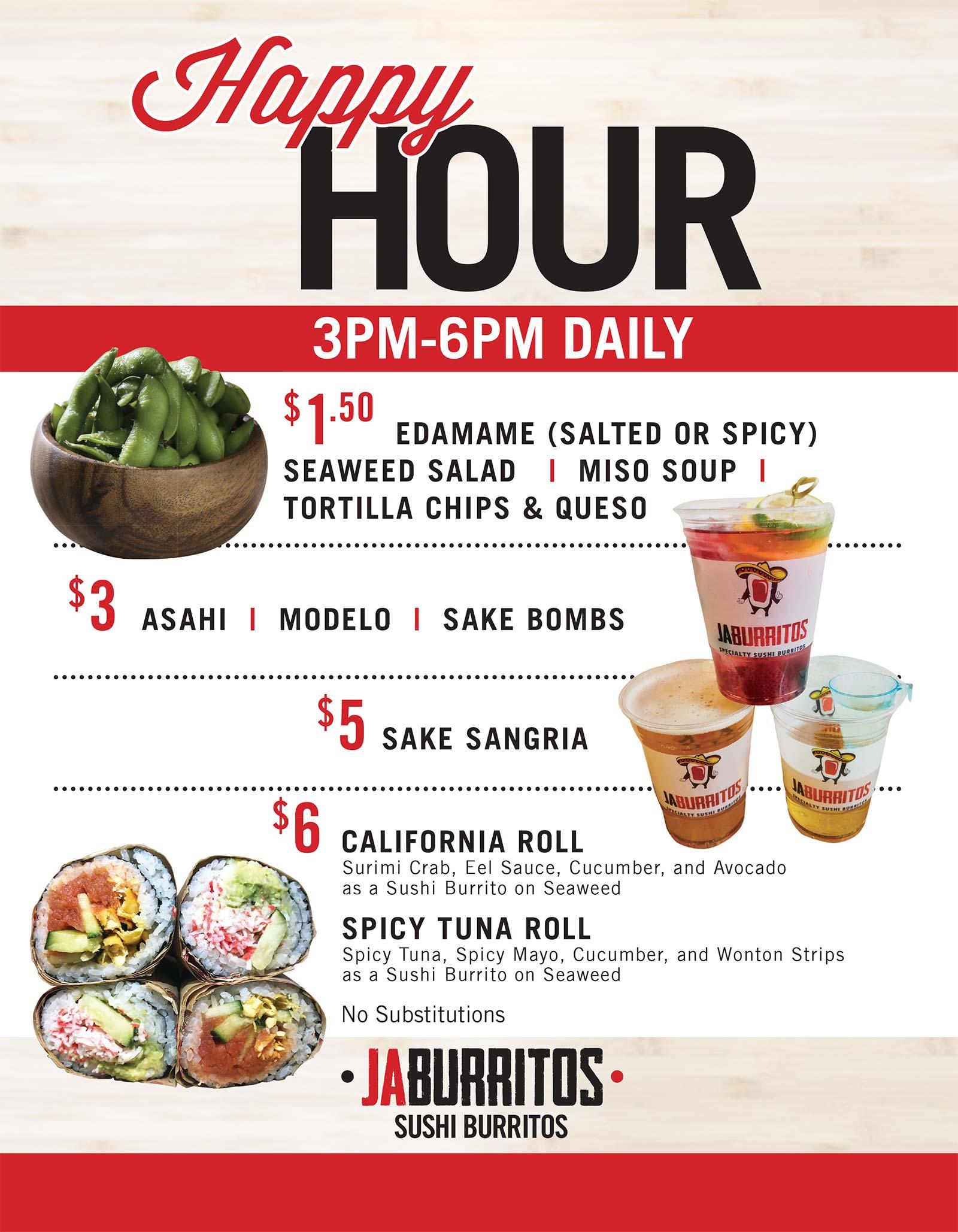 Jaburritos Happy Hour Menu